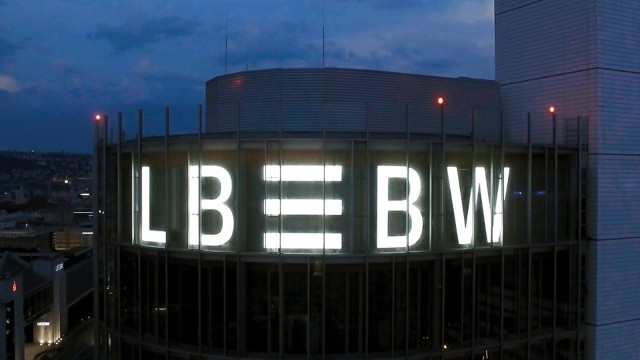 LBBW as night-time illuminated advertising on the main building