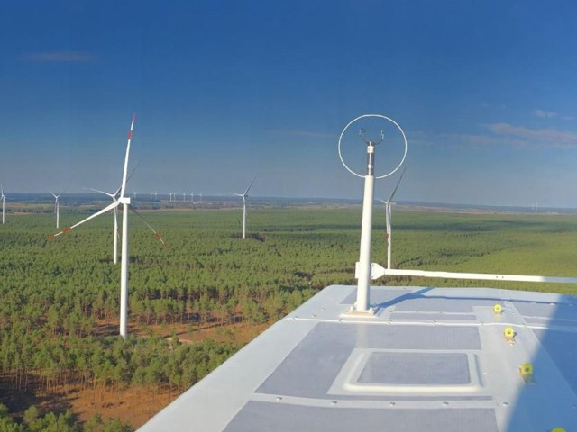 Project financing with LBBW: View from above of the Bärfang wind farm in Brandenburg
